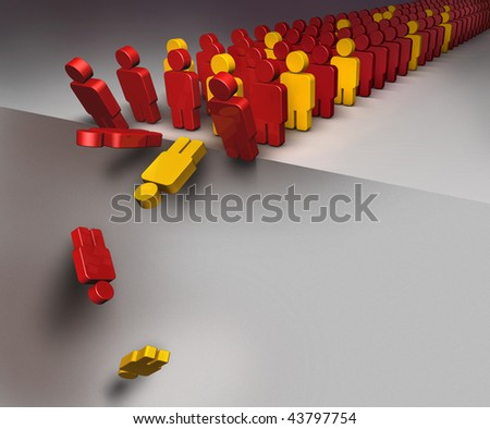 3D illustration of a group of people falling down as in domino effect - stock photo