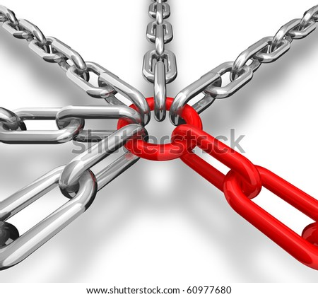 3d illustration of a group of red and silver chain - conceptual image - stock photo