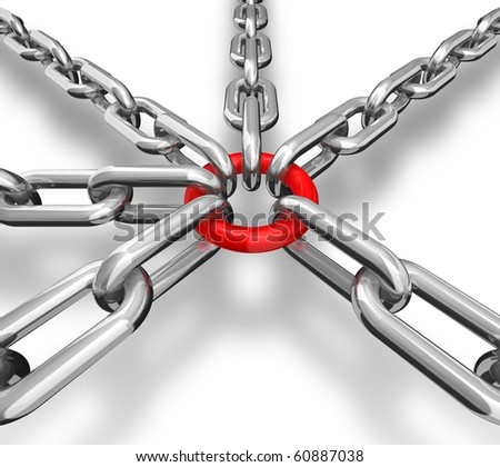 3d illustration of a group of silver chain - conceptual image - stock photo