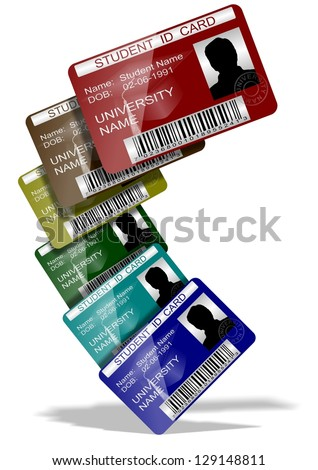 3d illustration of a group of student ID cards suspended in the air / Student ID cards - stock photo