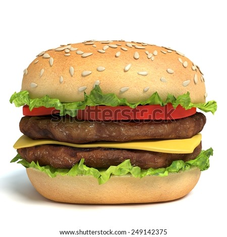 3d illustration of a hamburger