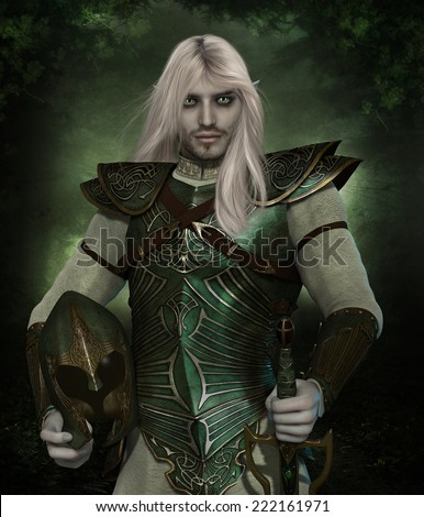 3D illustration of a handsome Elven Guard wearing green armor with long blonde hair and green eyes.  Holding a elvish helmet with a forest background.