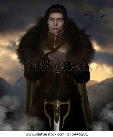 3D illustration of a handsome male warrior holding a sword, with long dark hair, a fur cloak and bronze armor in front of a winter mountain background with sunlight peeking through the clouds - stock photo