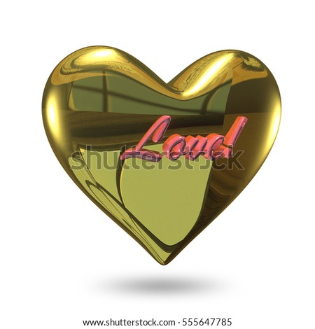3D Illustration of a Heart of Gold on a White Background