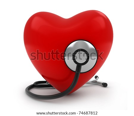 3D Illustration of a Heart with a Stethoscope - stock photo