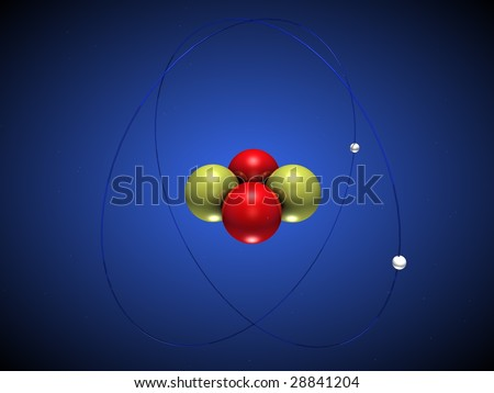 3D illustration of a helium atom with electrons around the nucleus - stock photo