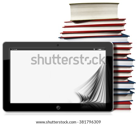 3d illustration of a horizontal black tablet computer with blank pages and a stack of books. Isolated on white background - stock photo