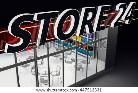 3D illustration of a 24-hour store at night