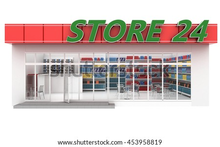 3D illustration of a 24-hour store with cafe