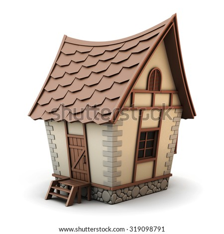 3D Illustration of a House isolated on white background. House cartoon.