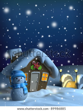 3D Illustration of a House with a Christmas Theme - stock photo