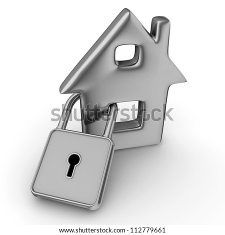 3d illustration of a house with a padlock - stock photo
