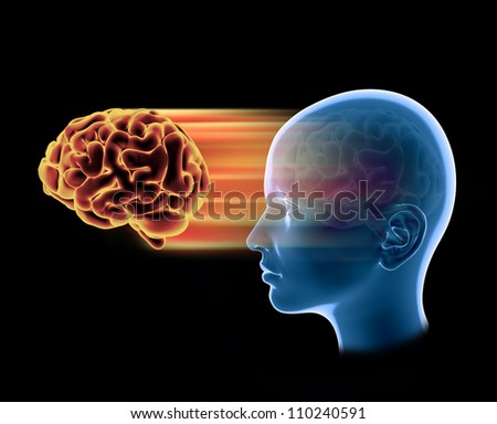 3D illustration of a human brain projected from the head, lateral view - stock photo