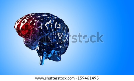 3D illustration of a human skeleton brain in pain. Isolated over blue background.  - stock photo
