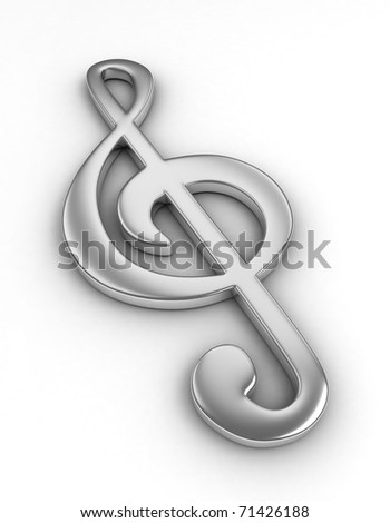 3D Illustration of a Large G-Clef - stock photo