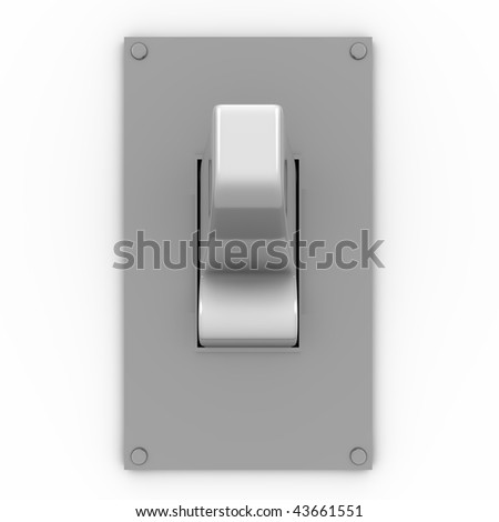 3D illustration of a light switch in frontal view - stock photo