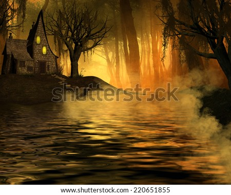 3D illustration of a little crooked house with a stream in front surrounded by a forest with moss in the tree's and orange sunlight streaming through.  - stock photo