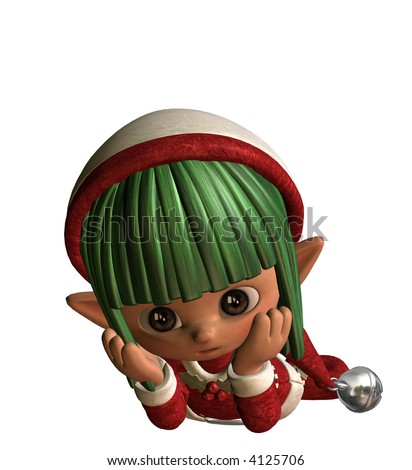 3D illustration of a little thinking elf - stock photo