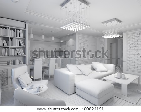 3d illustration of a living room with kitchen interior design in the style of modern classics. Visualization displayed without textures and shaders - stock photo