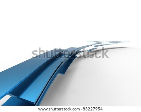 3d illustration of a lot of blue curve plates on white background - stock photo