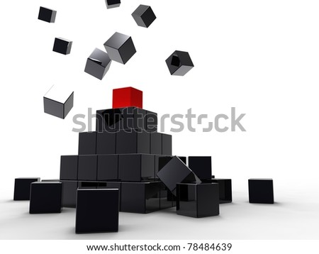 3d illustration of a lot of metallic black and red cubes - stock photo