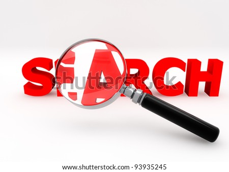 3d illustration of a magnify glass on a search word
