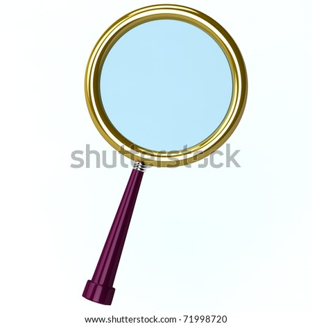 3d illustration of a magnifying lens isolated on white - stock photo