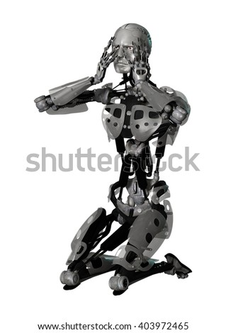 3D Illustration of a male cyborg isolated on white background