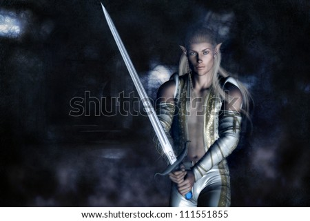 3D illustration of a male elven character with long blond hair holding a large sword and dressed in a warriors outfit with elven design.  The background is old ruins and mist.