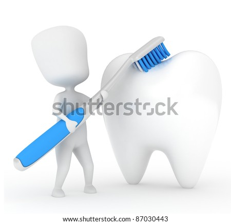 3D Illustration of a Man Brushing a Tooth - stock photo