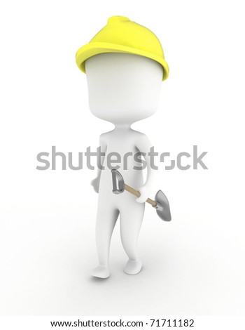 3D Illustration of a Man Carrying a Shovel