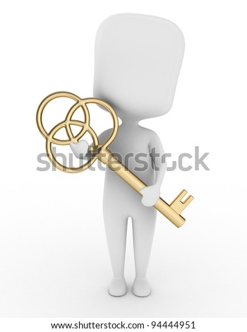 3D Illustration of a Man Holding a Large Key