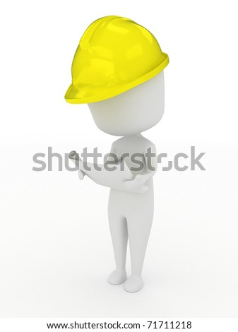 3D Illustration of a Man Inspecting a Blueprint - stock photo