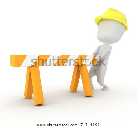 3D Illustration of a Man Putting Up a Barrier