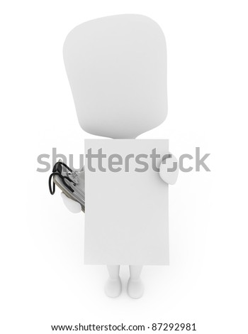 3D Illustration of a Man Showing a Blank Paper