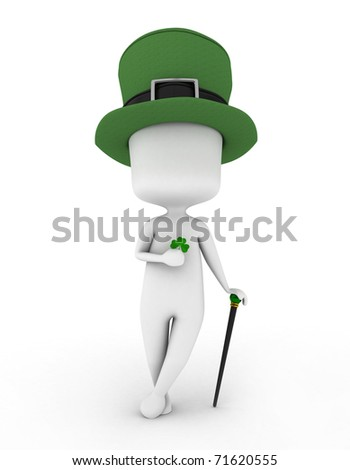 3D Illustration of a Man Wearing a Leprechaun's Hat and Holding a Shamrock - stock photo