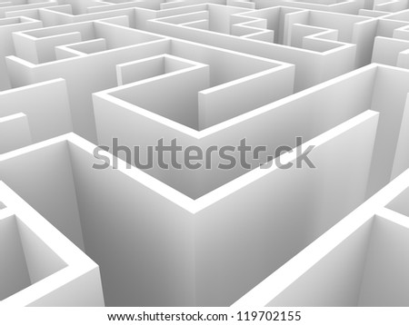 3d illustration of a maze in white - stock photo