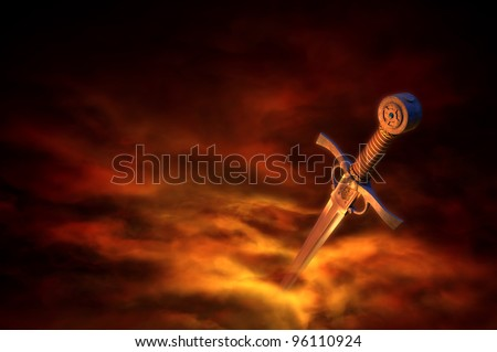 3D illustration of a medieval sword in fire smoke