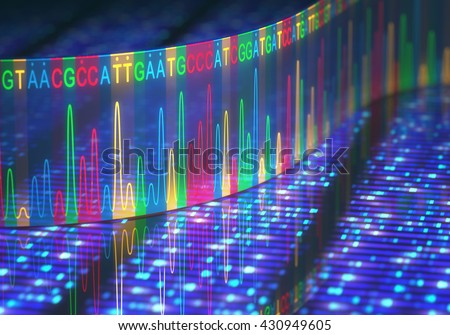3D illustration of a method of DNA sequencing. - stock photo