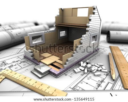 3d illustration of a model home in the background drawings - stock photo