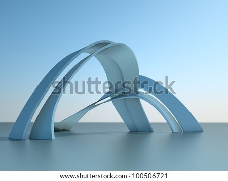 3d illustration of a modern architecture building with arches on sky background - stock photo