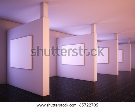 3D illustration of a modern gallery of art.