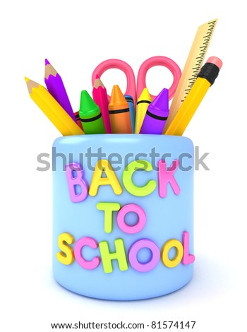 3D Illustration of a Mug with a Back to School Design - stock photo