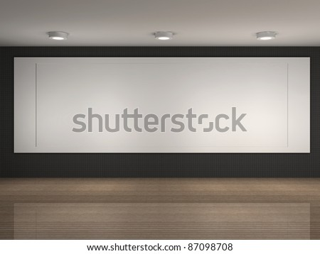 3d illustration of a museum room with big frame - stock photo