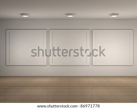 3d illustration of a museum room with frames - stock photo