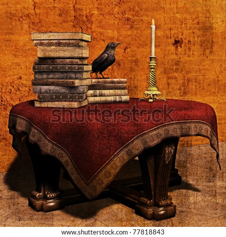 3D Illustration of a mysterious vintage table piled with books, a candlestick and a raven - stock photo