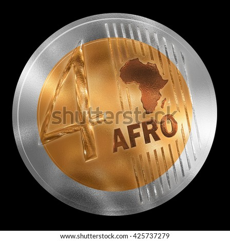 3D illustration of a non-existent coin. Conceptual monetary unit for Africa rendered similar to  European style. No in circulation. Coin value is Four. - stock photo