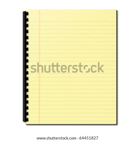 3d Illustration of a notebook with yellow leaves - stock photo