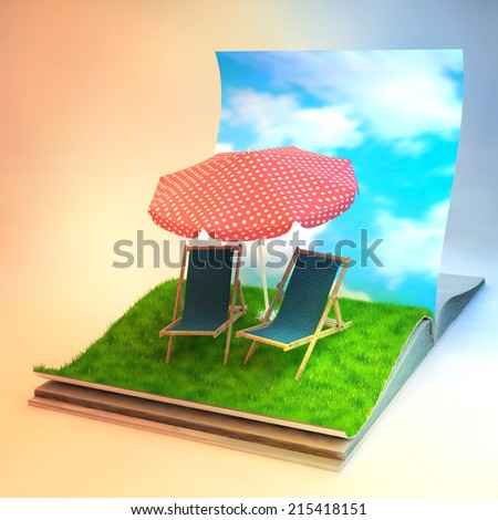 3d illustration of a opened book with sunbeds on grass field. traveling and vacation concept - stock photo