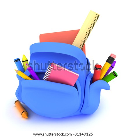 3D Illustration of a Packed Schoolbag - stock photo